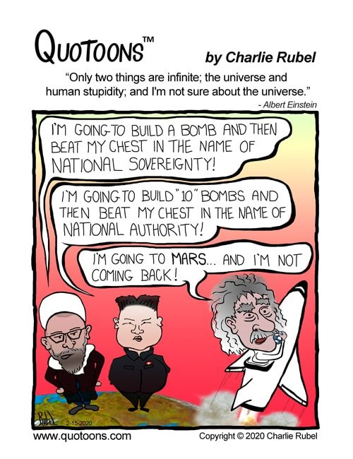 Gag comic using the quote from Albert Einstein about human stupidity and the universe