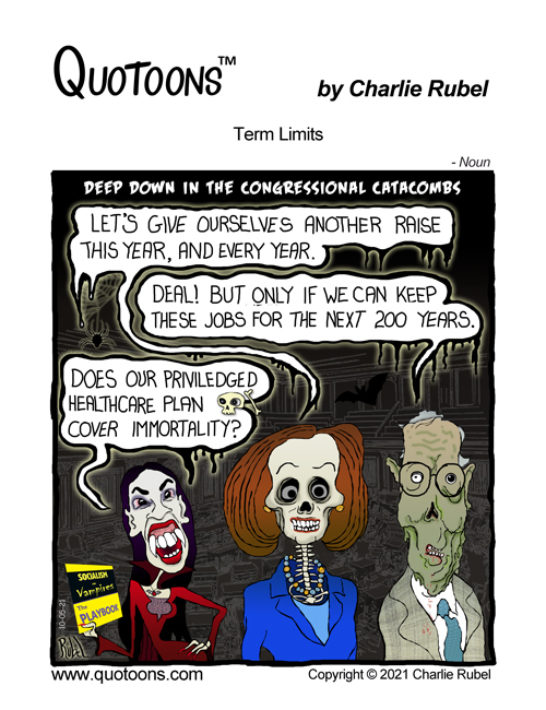 Comic Strip panel about congressional term limits for representatives and senators